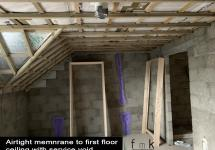 Airtight memnrane to first floor ceiling with service void