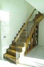 Modern timber and glass staircase